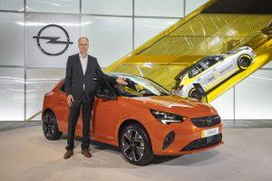IAA 2019 - Michael Lohscheller, Opel Automobile GmbH, mit dem neuen Opel Corsa