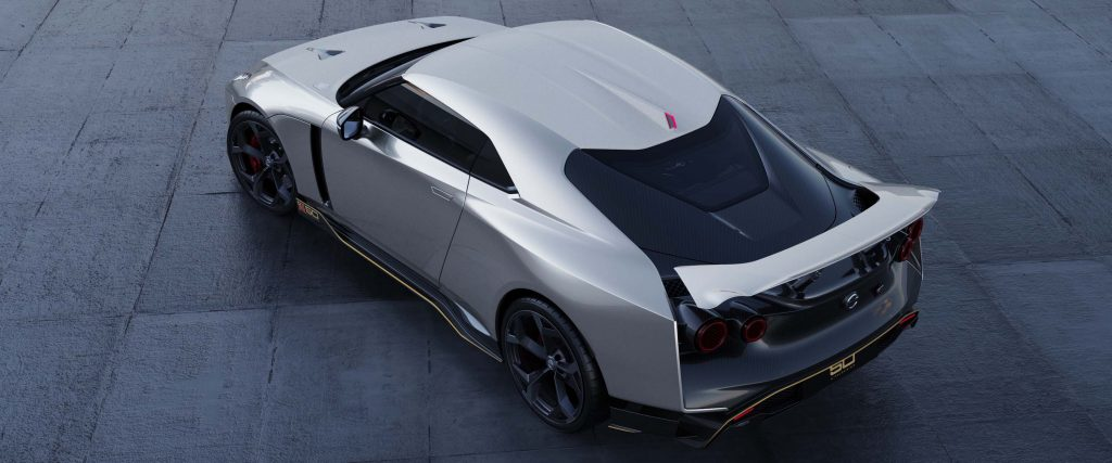 Nissan GT-R50 by Italdesign production rendering Silver RR TOP